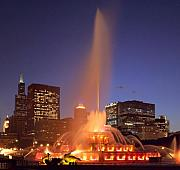 Chicago Fountain Prints - Towers And Fountains Print by Donald Schwartz