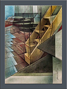 Analog Mixed Media Framed Prints - Towerstairscape 2002  Framed Print by Glenn Bautista
