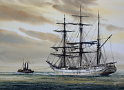 Tall Ship Painting Prints - Towing Out to Sea Print by James Williamson