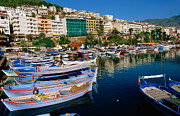 Small Town Life Prints - Town Buildings And Marina Boats, Alanya, Antalya, Turkey, Middle East Print by John Elk III