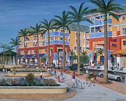 Fountain Painting Prints - Town Center Abacoa Jupiter Print by Marilyn Dunlap