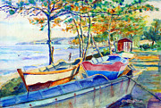 Sea Shore Prints Painting Originals - Town Fishery by Estela Robles