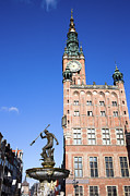 Neptune Photo Prints - Town Hall and Neptune Fountain in Gdansk Print by Artur Bogacki