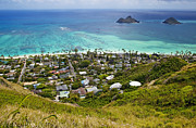 Aerial Prints - Town of Kailua with Mokulua Islands Print by Inti St. Clair