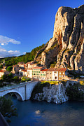 Country Houses Framed Prints - Town of Sisteron in Provence France Framed Print by Elena Elisseeva