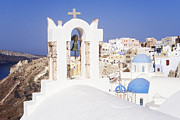 Thira Framed Prints - Town of Thira Santorini Framed Print by Jeremy Woodhouse