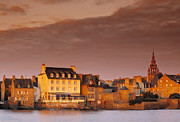 Residential Structure Prints - Town On Ocean , Roscoff , Brittany , France Print by Douglas Pearson