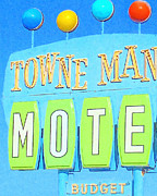 Motel Digital Art Prints - Towne Manor Motel Print by Wingsdomain Art and Photography