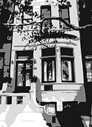 Nyc Digital Art Metal Prints - Townhouse BW3 Metal Print by Scott Kelley