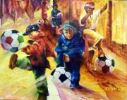 Verandah Paintings - Township Soccer by Estelle Hartley