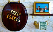 Stock Market Painting Posters - Toxic Assets Poster by Dawn Graham