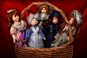 Toy - Dolls - A Basket Of Victorian Dolls  Print by Mike Savad
