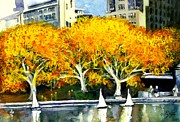 New York City Paintings - Toy Boats in the Park by Liz Viztes