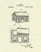 Log Cabin Art Drawings - Toy Cabin 1920 Patent Art by Prior Art Design