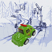 Playing Digital Art Originals - Toy car by Yogesh More