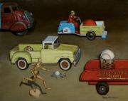 Old Trucks Paintings - Toy Parade by Doug Strickland