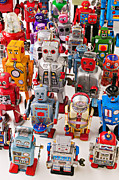 Robot Metal Prints - Toy robots Metal Print by Garry Gay