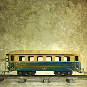 Textured Background Posters - Toy train Poster by Bernard Jaubert