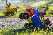 Hard Hats Prints - Toy Truck Planters Print by Gordon Wood