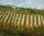 Wine Vineyard Paintings - Tra I Filari Nella Vigna by Guido Borelli