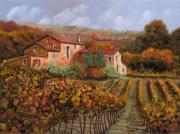 Farm Painting Framed Prints - tra le vigne a Montalcino Framed Print by Guido Borelli