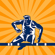 Track And Field Prints - Track and Field Athlete Jumping Hurdles Print by Aloysius Patrimonio
