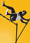 Sports Digital Art Metal Prints - Track and Field Athlete Pole Vault High Jump Retro Metal Print by Aloysius Patrimonio