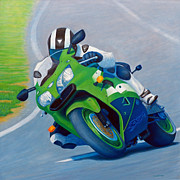Motorcycle Painting Posters - Track Day - Kawasaki ZX9 Poster by Brian  Commerford