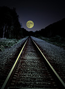 Train Tracks Prints - Track To The Moon Print by Emily Stauring