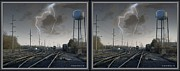 Crossview Framed Prints - Tracking The Storm - Gently cross your eyes and focus on the middle image Framed Print by Brian Wallace