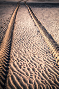 Tyre Metal Prints - Tracks in the Sand Metal Print by Adrian Evans