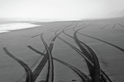 Four Wheel Drive Beach Posters - Tracks on black sand Poster by Yurix Sardinelly