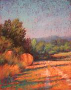 Bales Pastels - Tracks Through the Hay Field by Barbara Jaenicke
