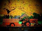 Upperville Posters - Tractor and Cart Poster by Joyce L Kimble