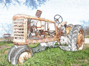 Color Pencil Digital Art - Tractor in color pencil by James Granberry