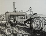 Machinery Painting Posters - Tractor Poster by Mary Capriole