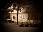 Indiana Framed Prints - Tractor Picket Fence Framed Print by Michael L Kimble
