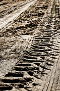 Machinery Photo Posters - Tractor Tracks in Dry Mud Poster by Olivier Le Queinec