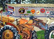Old Tractors Paintings - Tractors and Signs by Deborah Cushman
