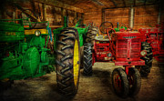 Rusty Tractor Tires Acrylic Prints - Tractors at Rest - John Deere - Mccormick - Farmall - farm equipment - nostalgia - vintage Acrylic Print by Lee Dos Santos
