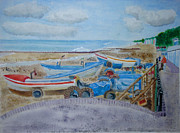 Norfolk; Painting Prints - Tractors on Cromer Beach Print by Michelle Archer