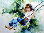 Child On Swing Print Paintings - Tracy by Hanne Lore Koehler
