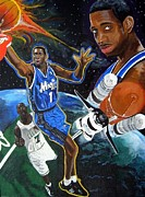 Sports Art Painting Posters - Tracy McGrady Poster by Jeff Gomez