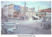 Trolley Paintings - Trade And Tryon Street 1900 by Charles Roy Smith
