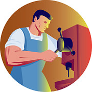 Tradesman Digital Art - Trade Factory Worker Working With Drill Press by Aloysius Patrimonio