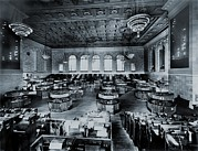 Historical Chandeliers Posters - Trading Floor Of The Former New York Poster by Everett