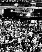 Stock Markets Framed Prints - Trading Floor Of The New York Stock Framed Print by Everett