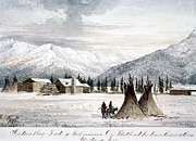 Mountain Cabin Painting Framed Prints - TRADING OUTPOST, c1860 Framed Print by Granger