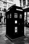 Tardis Posters - traditional blue police callbox in merchant city glasgow Scotland UK Poster by Joe Fox