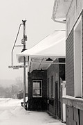 Country Cottage Photo Originals - Traditional BW Railroad Station by Michael Fusco
